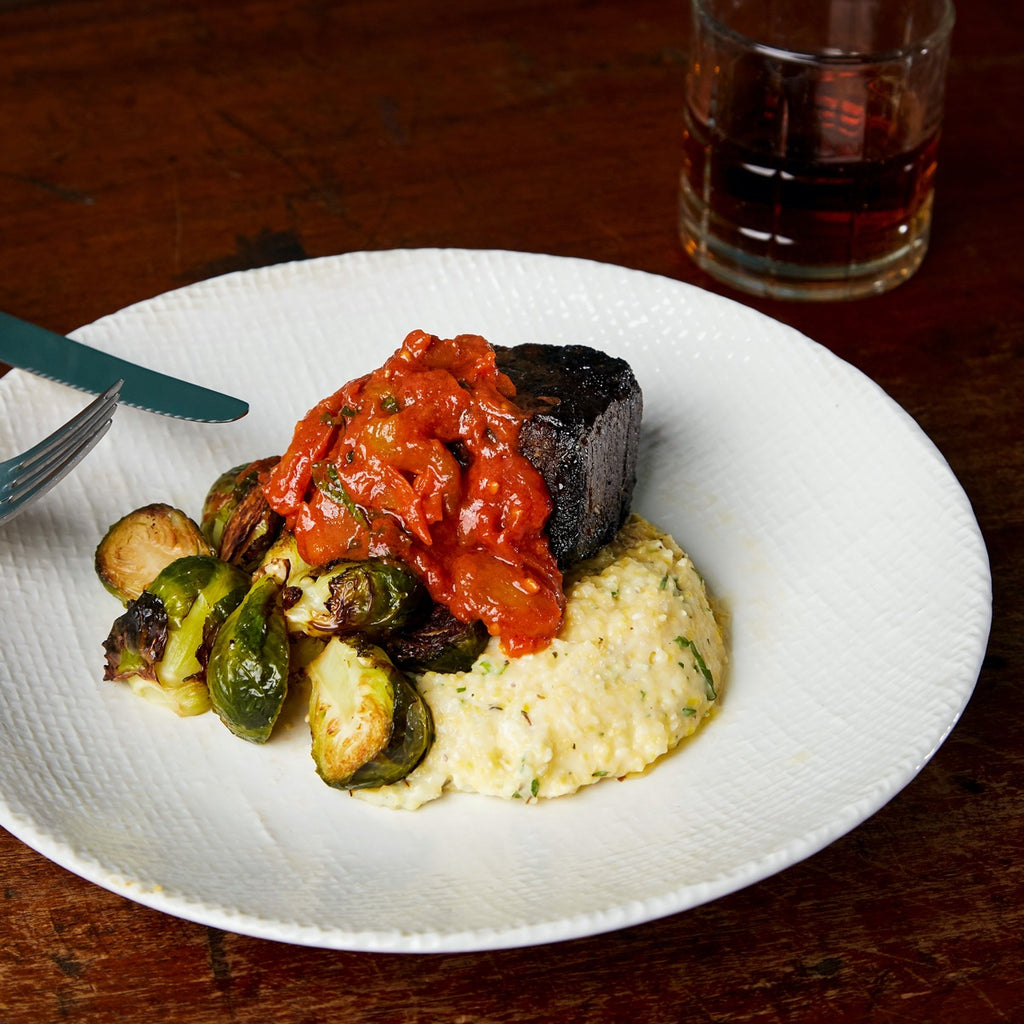 Braised Short Rib with Brussels Sprouts and Creamy Polenta