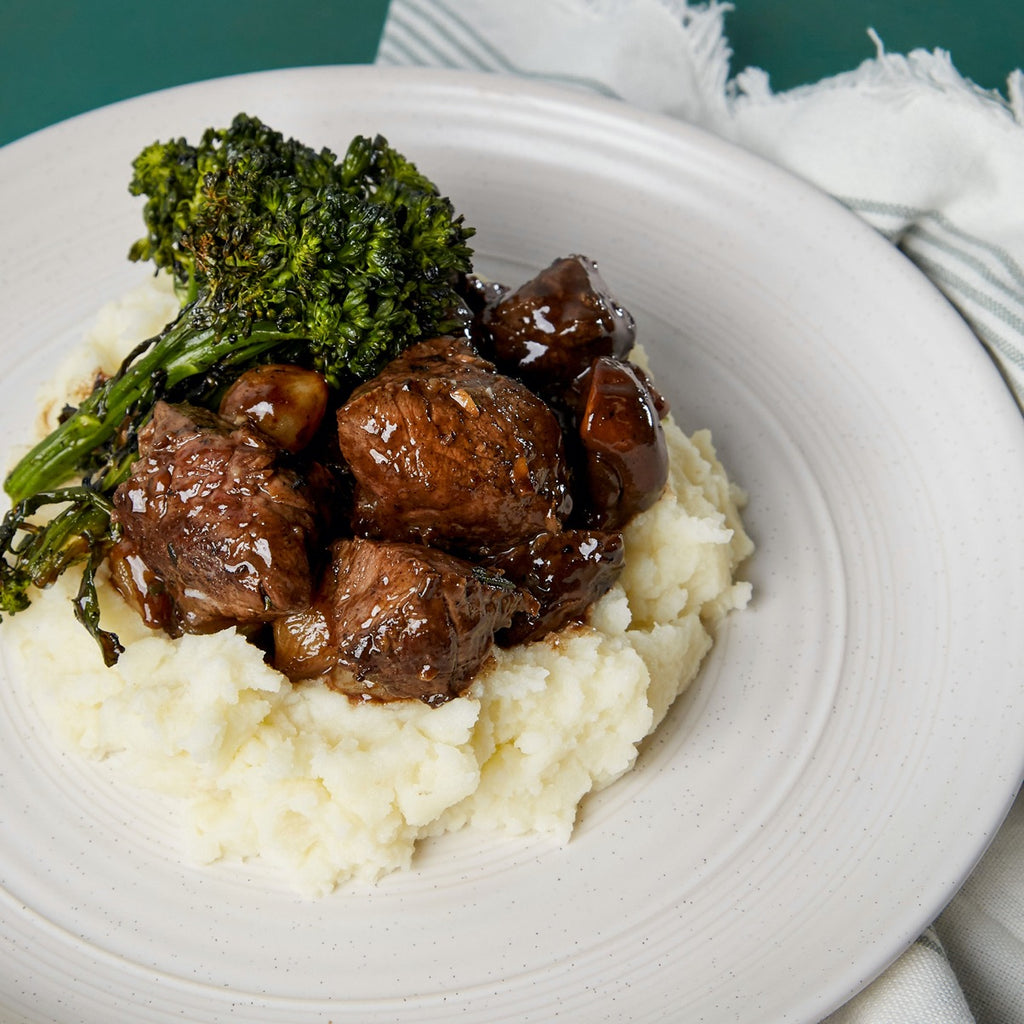 Rosemary & Garlic Seared Tenderloin of Beef with Whipped Mashed Potatoes & Charred Broccolini