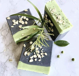 Charcoal Tea Tree Handmade Soap with Oatmeal - Zemala Natur'el