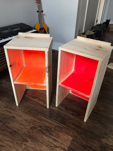 Handmade Wood Nightstand — Pine Wood Nightstands — Neon