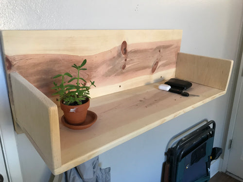 Handmade Wood Entry Shelf - Pine Wood - Entryway Desk - Los Angeles