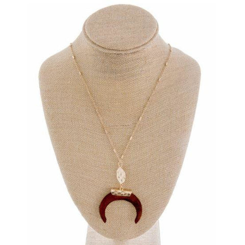 Wooden Horn Necklace