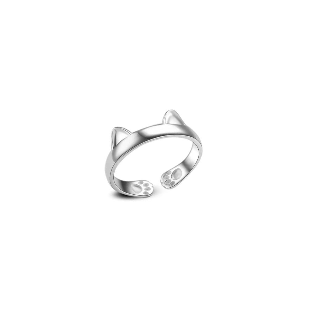 Silver Cat Ears Pinky Ring Adjustable