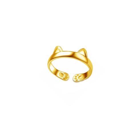 Gold Cat Ears Pinky Ring Adjustable