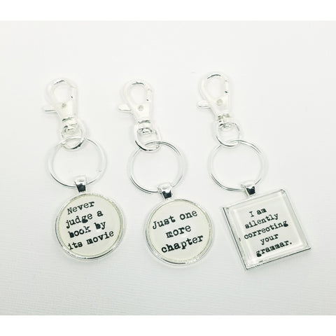 Typewriter Reading Key Chains- Silver Tone