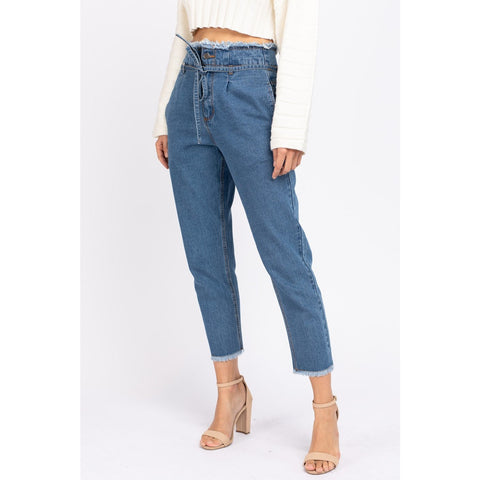 Tie Waist Denim Pants