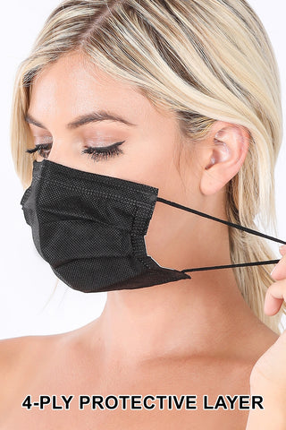 4-ply Disposable Face Mask 20/pack BLACK