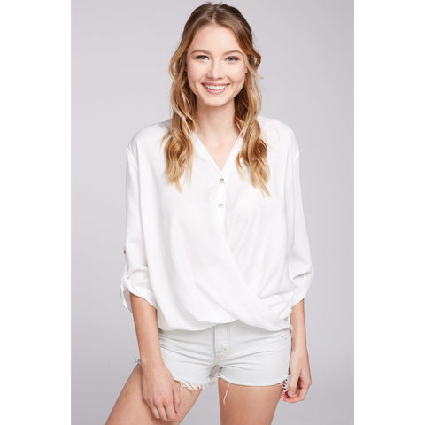 High-Low White Blouse