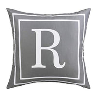 BLEUM CADE Gray Pillow Cover English Alphabet S Throw Pillow Case Modern Cushion Cover Square Pillowcase Decoration for Sofa Bed Chair Car 18 x 18 Inch
