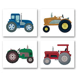 "XUN Boys Truck Tractor Art Print- Watercolor Construction Vehicle Canvas Wall Art-(8""X10""X4 Pieces, Unframed)-Perfect for Kids Bedroom Playroom Decoration"