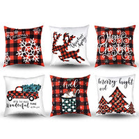 MENOLY 4 Pcs Valentine's Day Throw Pillow Case Red Buffalo Plaid Love Cushion Case Cushion Cover Pillow Cover Cotton Linen 18 x 18 Inch for Sofa Couch Bedroom Home Decor Valentine's Day Present