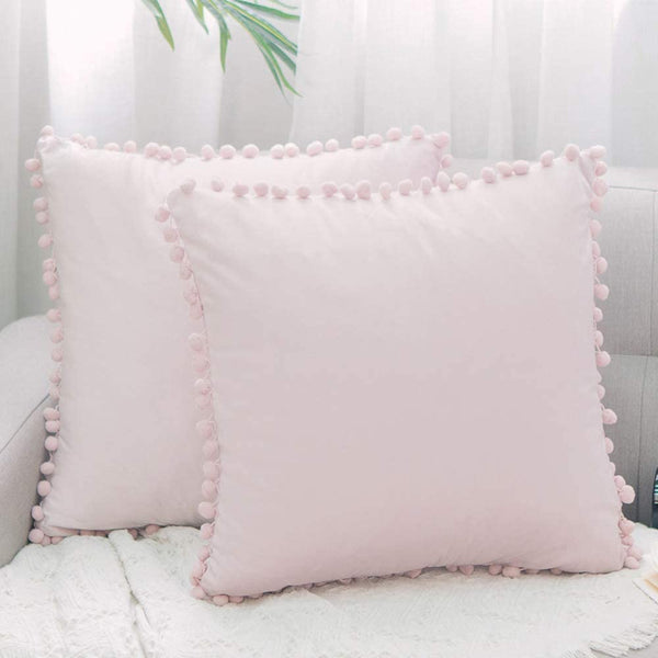 NATUS WEAVER Pack of 2,Pom Poms Decorative Throw Pillow Case Soft Velvet Solid Cushion Cover 18 X 18 for Couch Bedroom Car Baby Pink