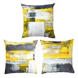 Decor MI [Just Pillowcase Modern Grey and Yellow Throw Pillow Covers Abstract Pillowcase Linen Cushion Cover Pillow Cases with Zipper Home Decor for Sofa Slipcover Decorative 18x18 inch Set of 3