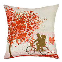 MENOLY Valentine's Day Throw Pillow Case Cushion Case Cushion Cover Pillow Cover Cotton Linen 18 x 18 Inch for Sofa Couch Bedroom Home Decor Valentine's Day Present Love Tree Bicycle