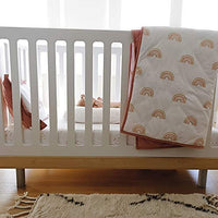 Ely's & Co. Baby Crib Bedding Sets for Girls — 3 Piece Set Includes Crib Sheet, Quilted Blanket, and Baby Pillowcase — Pink Rainbow Design