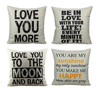 All Smiles Throw Pillow Covers Case Decorative Farmhouse Cotton Linen 18x18 Set of 2 Love Home Quote Inspirational Words House Decor Outdoor Cushion for Couch Sofa Bed