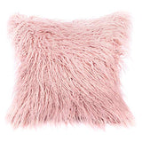 "Kevin Textile Set of 2 Decorative New Luxury Series Merino Style Christmas Off-White Fur Throw Pillow Case Cushion Cover Pillow Covers for Bed (18"" x 18"" 45cm x 45cm)"