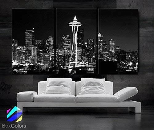 "Original by BoxColors Large 30""x 60"" 3 Panels 30""x20"" Ea Art Canvas Print Seattle Washington Skyline Night Downtown Black & White Wall Home Decor Interior(framed 1.5"" Depth)"