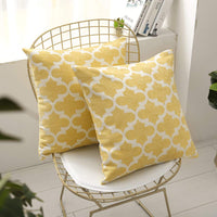 STARSCITY Set of 2 Square Decorative Throw Pillow Cases 100% Cotton Soft Microfiber Outdoor Cushion Covers 20 X 20 for Sofa Bedroom Throw Cushion Cover Gifts (Yellow, 20x20 inches)