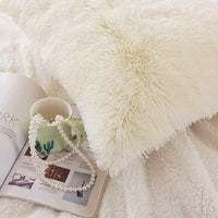 LIFEREVO 2 Pack Shaggy Plush Faux Fur Pillow Shams Fluffy Decorative Pillowcases Zipper Closure (Standard Queen Light Beige)