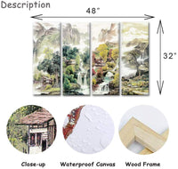 VividHome Chinese Canvas Wall Art 4 Pieces Four Seasons Mountain River Landscape Pictures Paintings for Office and Home Decor 12x32inchx4pcs