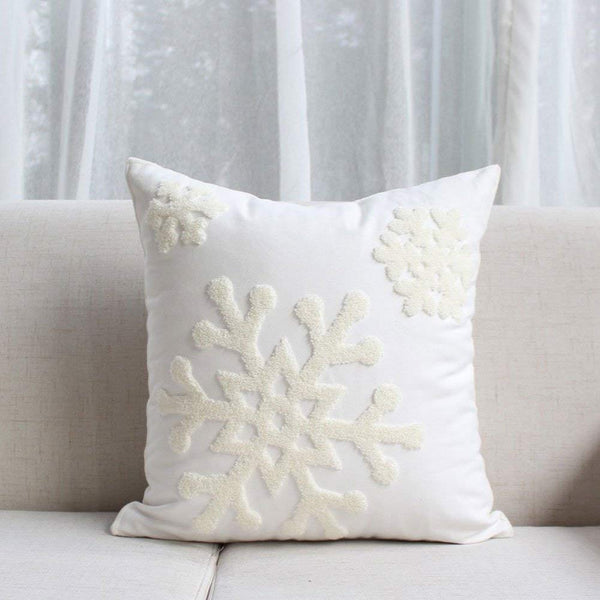 Elife Soft Square Snowflake Theme Home Decorative Canvas Cotton Embroidery Throw Pillow Covers 18x18 Case Cushion Cover Decorative Decor for Couch Bed Chair(1Pcs, White)