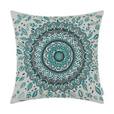 CaliTime Canvas Throw Pillow Cover Case for Couch Sofa Home Decor Floral Compass Leaves Medallion 18 X 18 Inches Turquoise