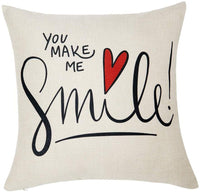 Anickal Valentines Pillow Covers 18x18 Inch for Valentine's Day Decorations My Love You Make ME Smile Quote Set of 2 Decorative Throw Pillow Covers Cotton Linen Cushion Cover for Home Farmhouse Decor