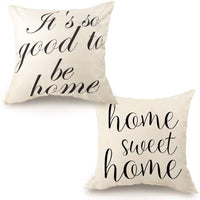 CDWERD 2pcs Farmhouse Throw Pillow Covers Linen Rustic Pillow Case 18 x 18 inches with Home Sweet Home and It's So Good to Be Home Quote