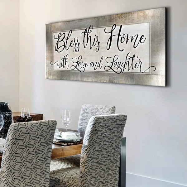 Sense of Art | Bless This Home with Love | Wood Framed Canvas | Ready to Hang Family Wall Art for Home and Kitchen Decoration