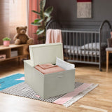 Sorbus Square Toy Chest with Flip-Top Lid, Kids Collapsible Storage for Nursery, Playroom, Closet, Home Organization, Large (Beige)