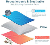 "Elegear Cooling Pillowcases for Night Sweats and Hot Flashes, Japanese Q-Max 0.4 Cooling Fiber, Breathable Soft Both Sides Pillow Case with Hidden Zipper, Set of 2, Gray (Standard (20"" x 26""))"