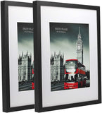 HomeMe 11X14 Black Picture Frame 2 Pack Made to Display Pictures 8X10 with Mat or 11X14 Without Mat Wide Molding Wall Mounting Material Included