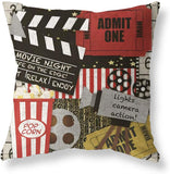 Movie Theater Cinema Personalized Home Decor Design Throw Pillow Cover Pillow Case 18 x 18 Inch Cotton Linen for Sofa Set of 4 Decorative Pillows Gray Throw Pillows Cases