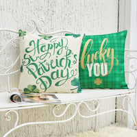 Anickal St Patricks Day Pillow Covers 18x18 Inch for St Patricks Day Decorations Happy St Patricks Day Green Shamrock Clover Lucky You Set of 2 Decorative Throw Pillow Case for Home Farmhouse Decor