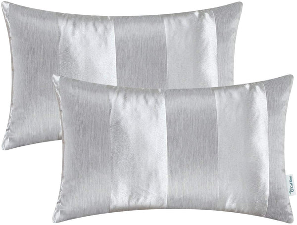 CaliTime Pack of 2 Cushion Covers Bolster Pillow Cases Shells for Couch Sofa Home Decoration Modern Shining & Dull Contrast Striped 12 X 20 Inches Silver Gray