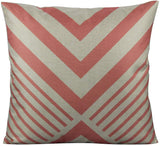 All Smiles Coral Pink Outdoor Throw Pillow Covers Cases Decorative Cushion Home Decor Accent Square 18 x 18 Set of 4 for Couch Sofa Patio Bed Living Room,Geometry