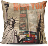 WULIHUA Pillow Covers New York Statue of Liberty Sofa Modern Pillow Case Decorative Throw Pillow Cases Double Sides Printed Square 20x20 Inches