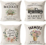 INSHERE Farmhouse Spring Floral Throw Pillow Cover Cotton Linen Decorative Cushion Covers Set of 4 Flower Market Pillowcase Cushion Case for Sofa Bedroom Car 18 x 18 Inch 45 x 45 cm (Flower Market)