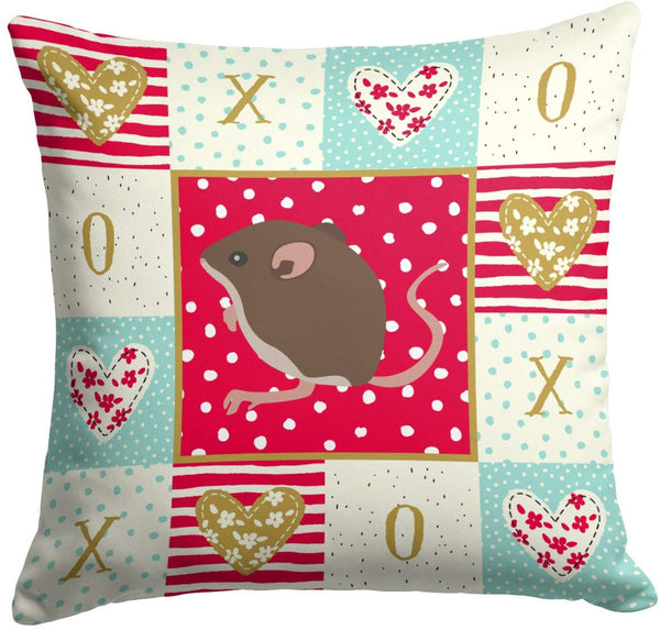 Caroline's Treasures CK5448PW1414 Baby Mouse Love Fabric Decorative Pillow, 14Hx14W, Multicolor