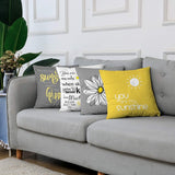 Emvency Set of 4 Throw Pillow Covers You are My Sunshine Yellow Gray with Chevron Words Decorative Pillow Cases Home Decor Square 18x18 Inches Pillowcases