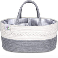KiddyCare Baby Diaper Caddy Organizer - Stylish Rope Nursery Storage Bin - 100% Cotton Canvas Portable Diaper Storage Basket for Changing Table & Car - Top Baby Shower Gift