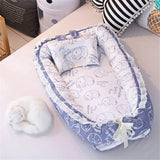 Abreeze Ruffled Baby Bassinet for Bed -Blue Elephant Baby Lounger - Breathable & Hypoallergenic Co-Sleeping Baby Bed - 100% Cotton Portable Crib for Bedroom/Travel