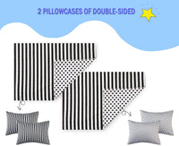 "fuman 100% Cotton Toddler Pillowcases,2 Pack Soft and Breathable Travel Pillow Cases, 13""x 18"",14""x 19""for Kids Bedding Great Shower Gift"