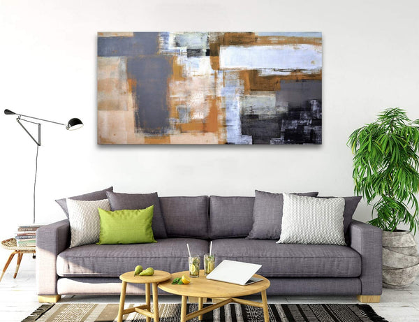 A61862 Modern Giclee Canvas Prints Picture Wall Art Abstract Brown Grey Framed Paintings for Bedroom Living Room Office Home Decoration Modern Artwork Wall Decor Ready to Hang 24x48 inch