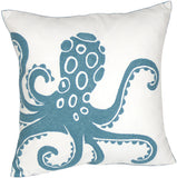 DECOPOW Embroidered Nautical Decor Pillow Covers,Square 18 Inches Decorative Canvas Pillow Cover for Nautical Style Deco by (Navy-Octopus)