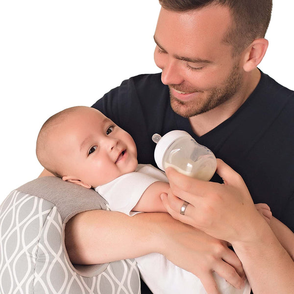 Itzy Ritzy Infant Nursing Pillow - Milk Boss Breastfeeding and Bottle Feeding Pillow and Positioner – Rotates Around Arm to Offer a Custom Fit and Relieve Arm Strain, Platinum Helix