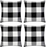 InnoGear Classic Buffalo Check Throw Pillow Covers Cotton Linen 18 x 18 inch for Home Decor Design Cushion Case Sofa Bedroom Car, Pack of 4