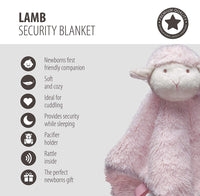 STORKI Lamb Blanket Plush Toy with Pacifier Holder for Baby Boys and Girls (Pink)