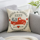 Valentines Day Pillow Cover 18x18 inch Valentines Home Decor Hugs Kisses Valentine's Wishes XO Love Heart Truck Decorative Valentines Day Throw Pillow Cover Cushion Case Valentine Decoration